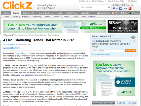Clickz - 4 Email Marketing Trends That Matter in 2012