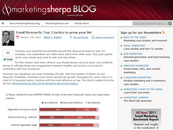 MarketingSherpa - Email Research: Top 3 tactics to grow your list