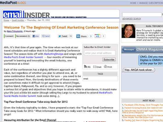 MediaPost - Welcome To The Beginning Of Email Marketing Conference Season