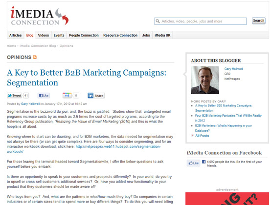 iMedia Connection - A Key to Better B2B Marketing Campaigns: Segmentation