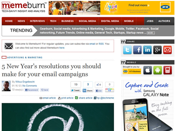 memeburn - 5 New Year's resolutions you should make for your email campaigns