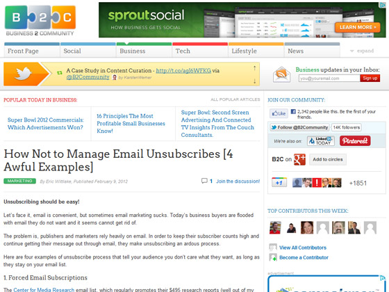 Business2Community - How Not to Manage Email Unsubscribes [4 Awful Examples]