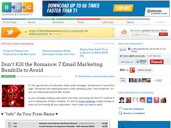 Business2Community - Don't Kill the Romance: 7 Email Marketing Buzzkills to Avoid