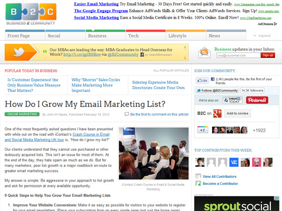 Business 2 Community - How Do I Grow My Email Marketing List?