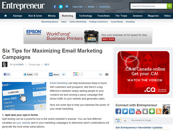 Entrepreneur - Six Tips for Maximizing Email Marketing Campaigns