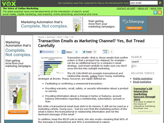 MarketingVOX - Transaction Emails as Marketing Channel? Yes, But Tread Carefully