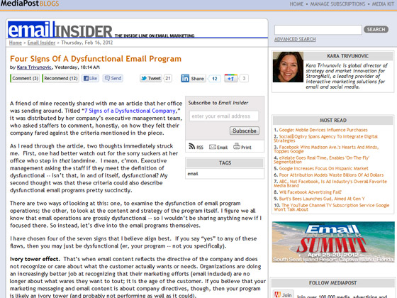 MediaPost - Four Signs Of A Dysfunctional Email Program