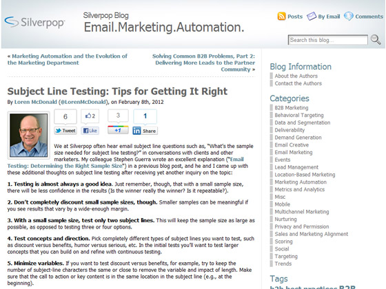 Silverpop - Subject Line Testing: Tips for Getting It Right