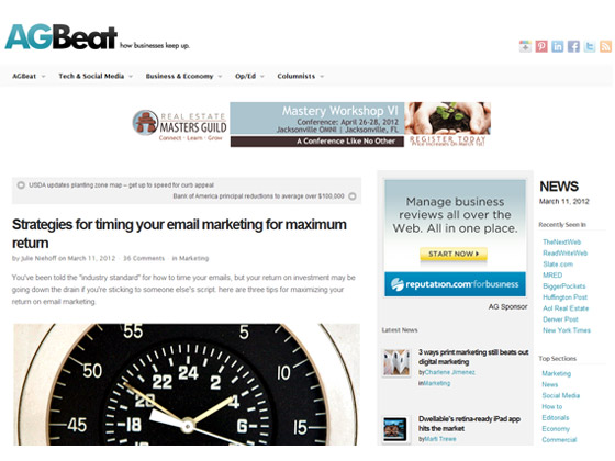 AGBeat - Strategies for timing your email marketing for maximum return