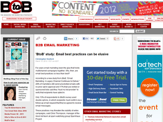 B2B - 'BtoB' study: Email best practices can be elusive