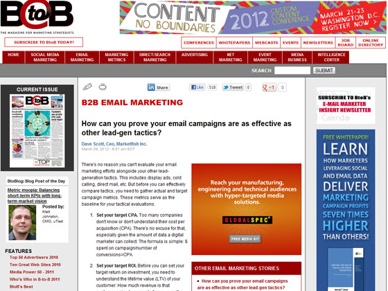 BtoB Online - How can you prove your email campaigns are as effective as other lead-gen tactics?