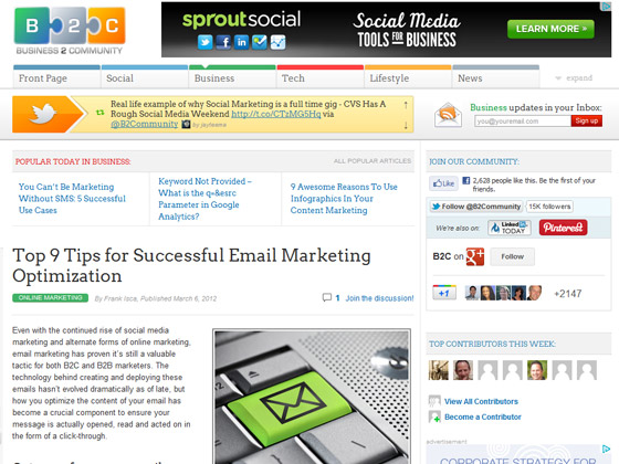 Business 2 Community - Top 9 Tips for Successful Email Marketing Optimization