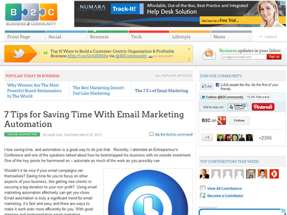 Business 2 Community - 7 Tips for Saving Time With Email Marketing Automation