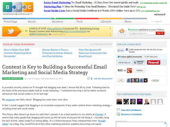 Business 2 Community - Content is Key to Building a Successful Email Marketing and Social Media Strategy