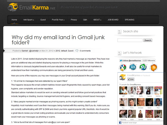 Email Karma - Why did my email land in Gmail junk folder?
