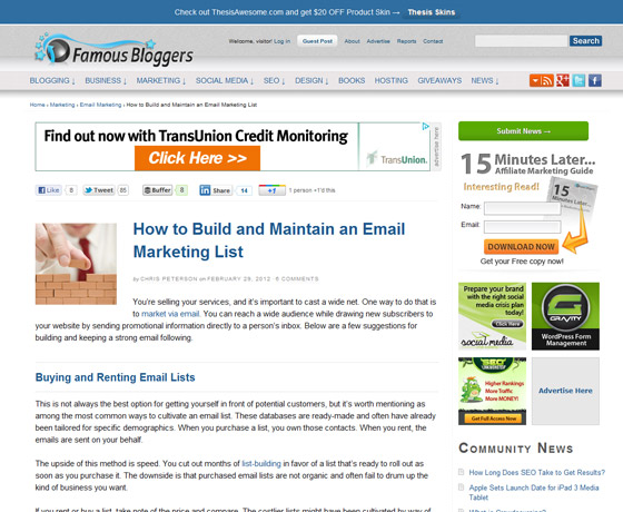 FamousBloggers - How to Build and Maintain an Email Marketing List