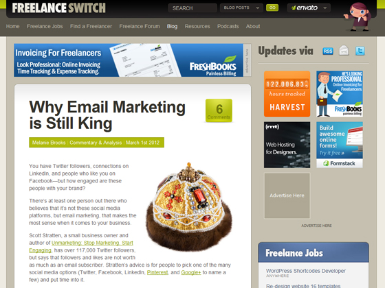 Freelance Switch - Why Email Marketing is Still King