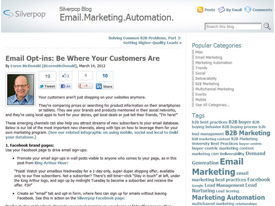 Silverpop - Email Opt-ins: Be Where Your Customers Are