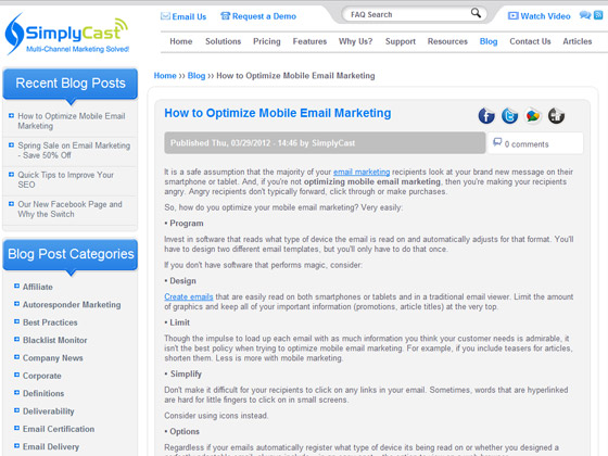 SimplyCast - How to Optimize Mobile Email Marketing