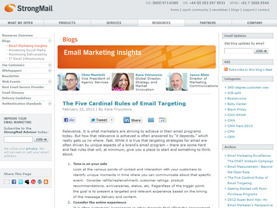 StrongMail - The Five Cardinal Rules of Email Targeting