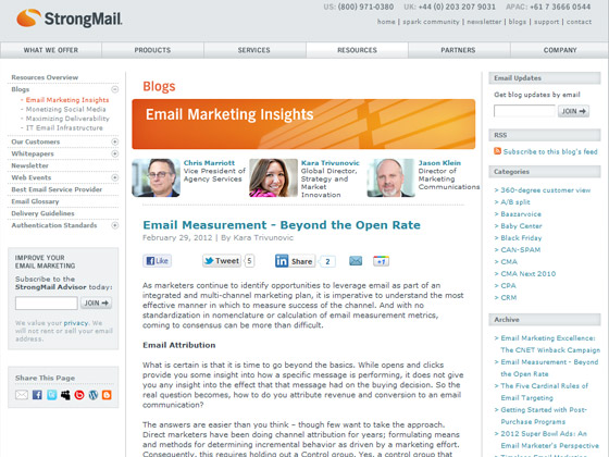 StrongMail - Email Measurement - Beyond the Open Rate