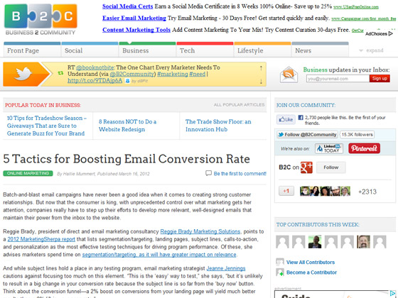 Business 2 Community - 5 Tactics for Boosting Email Conversion Rate