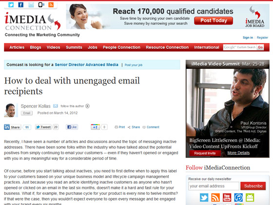 iMedia Connection - How to deal with unengaged email recipients