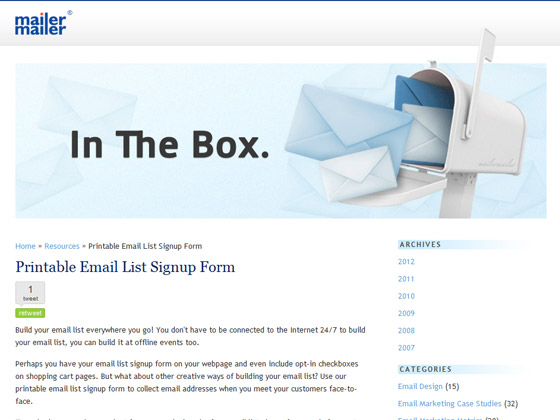 mailermailer printable email list signup form email marketing