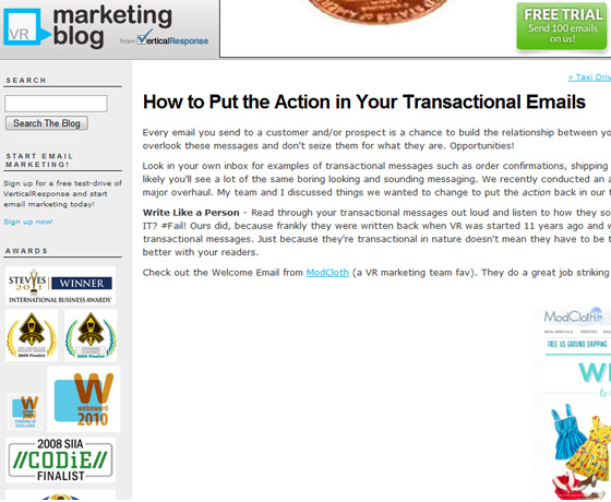 VerticalResponse - How to Put the Action in Your Transactional Emails