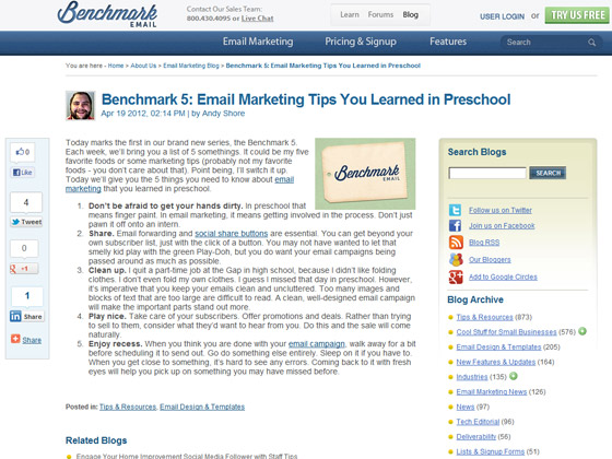 Benchmark 5: Email Marketing Tips You Learned in Preschool