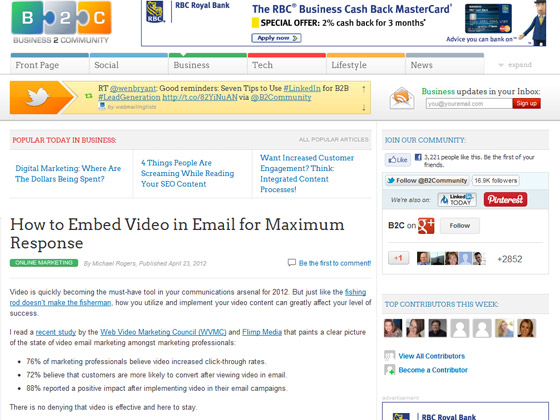 Business 2 Community - How to Embed Video in Email for Maximum Response