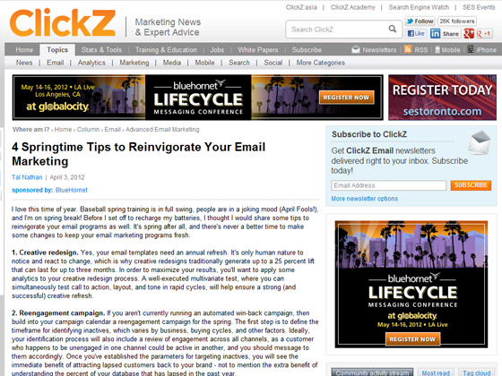 ClickZ - 4 Springtime Tips to Reinvigorate Your Email Marketing