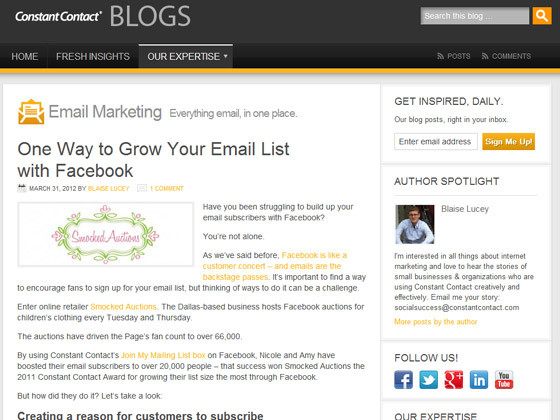 Constant Contact - One Way to Grow Your Email List with Facebook