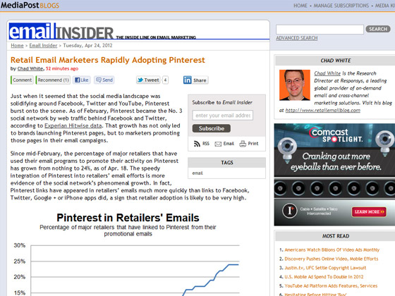 MediaPost - Retail Email Marketers Rapidly Adopting Pinterest