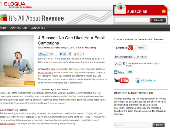 Eloqua - 4 Reasons No One Likes Your Email Campaigns