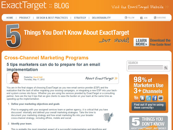 ExactTarget - 5 tips marketers can do to prepare for an email implementation