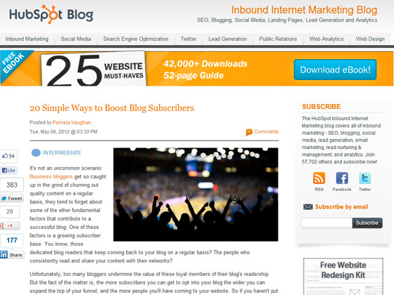 HubSpot - 20 Simple Ways to Boost Blog Subscribers