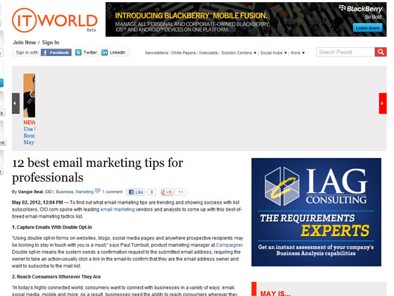 ITWorld - 12 best email marketing tips for professionals