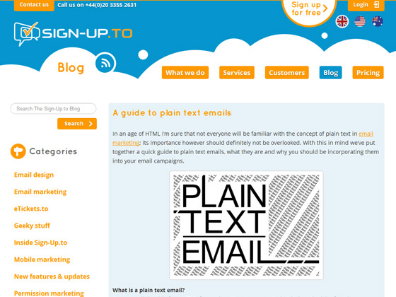 Sign-Up - A guide to plain text emails