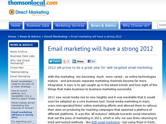 Thomson - Email marketing will have a strong 2012