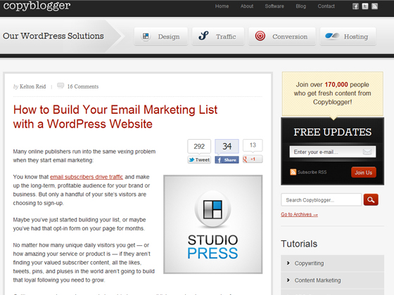 copyblogger - How to Build Your Email Marketing List with a WordPress Website