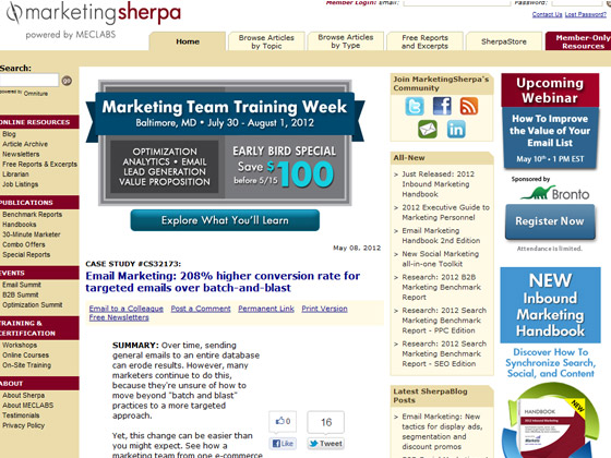 MarketingSherpa - Email Marketing: 208% higher conversion rate for targeted emails over batch-and-blast