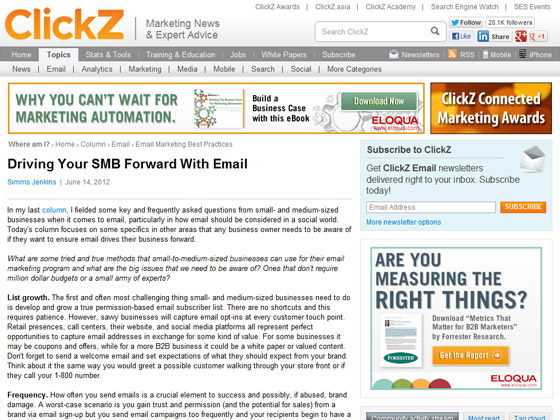 ClickZ - Driving Your SMB Forward With Email