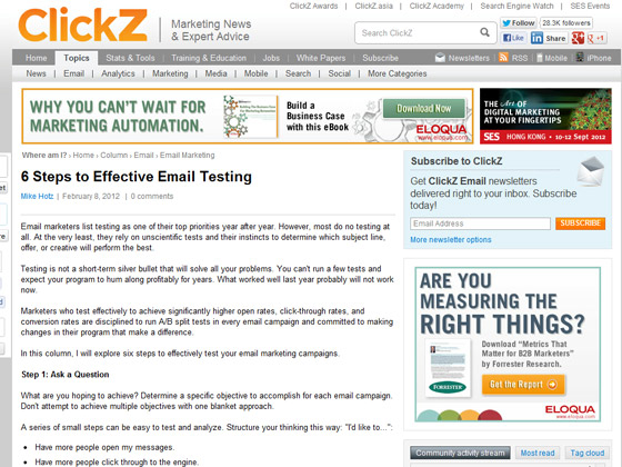 ClickZ - 6 Steps to Effective Email Testing