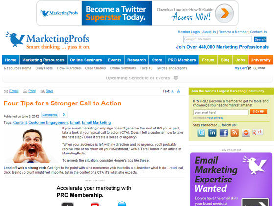 MarketingProfs - Four Tips for a Stronger Call to Action