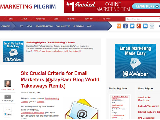Six Crucial Criteria for Email Marketers [@JayBaer Blog World Takeaways Remix]