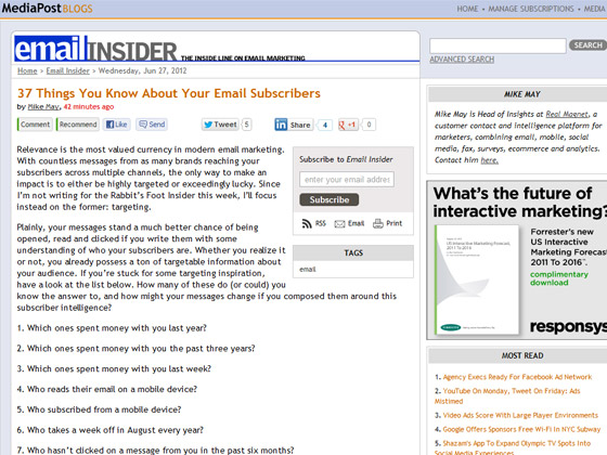 37 Things You Know About Your Email Subscribers