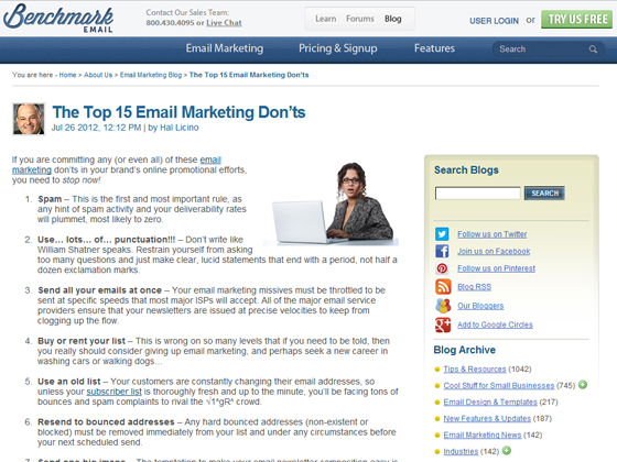 Benchmark Email - The Top 15 Email Marketing Don'ts