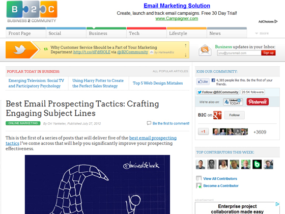Business 2 Community - Best Email Prospecting Tactics: Crafting Engaging Subject Lines