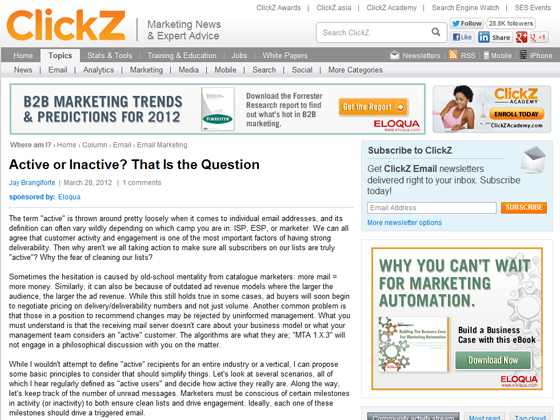 ClickZ - Active or Inactive? That Is the Question